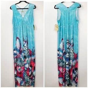 One World Blue Butterfly Print Maxi Dress